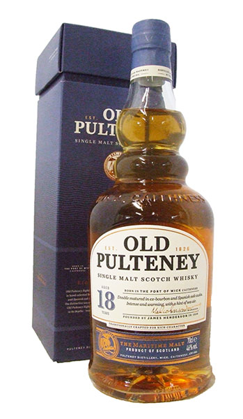 old pulteney 18 year old whisky bottle